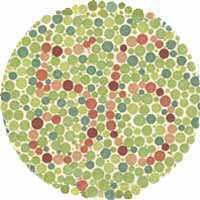 If you are Red-Green color blind you see number 56 on the image above. People with normal color vision don't see anything.