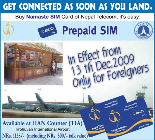 Namaste sim cards available at TIA to foreigners