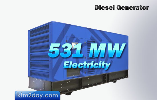 Diesel provides 531 MW of electricity