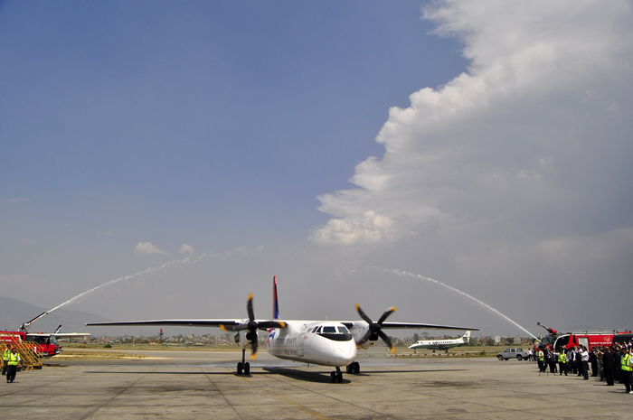 Nepal Airlines MA60 chinese built aircraft lands at TIA