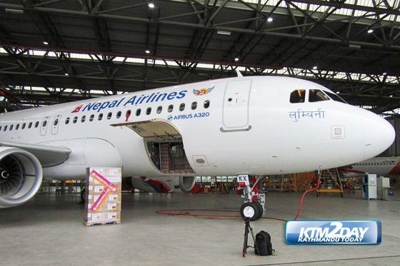 Nepal Airlines' second new Airbus A320 touches down with relief materials