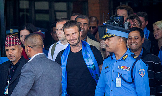David Beckham arrives in Kathmandu, Nepal